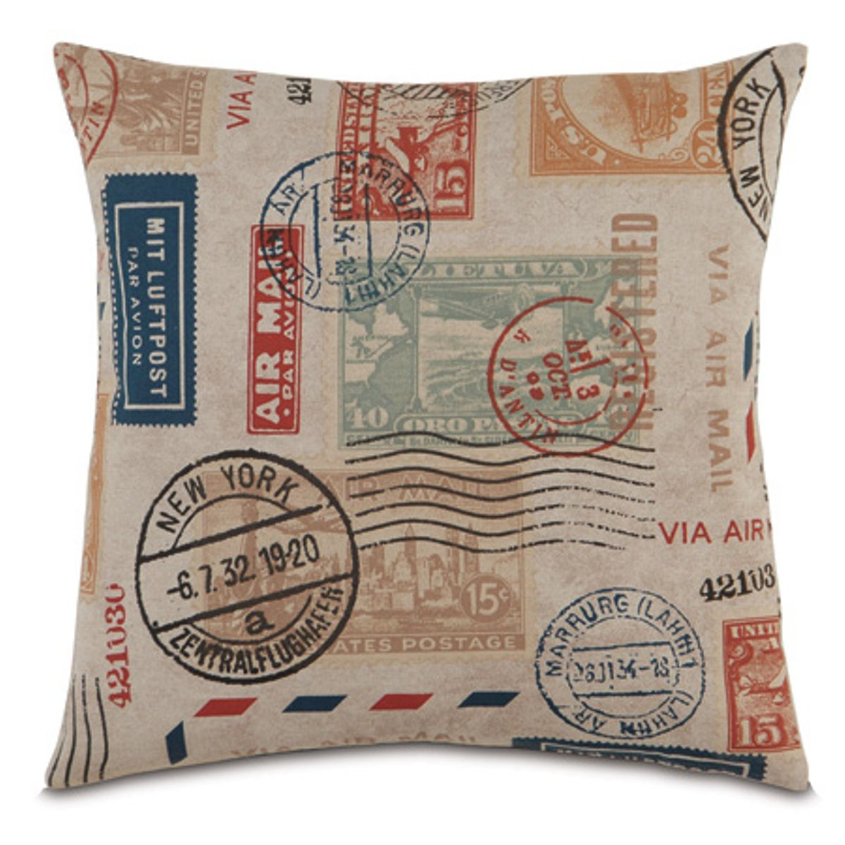 Travel Inspired Guest Room: Passport Stamp Pillow