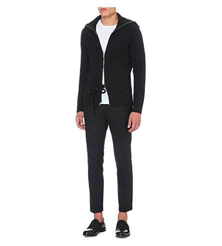 DRIES VAN NOTEN Zip-up wool cardigan (Anthracite) £515