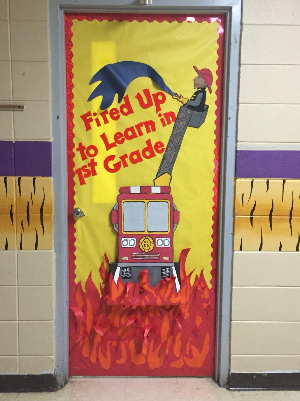 Back to school firefighter fire truck door decoration | Bomberos ...