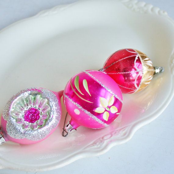Three Vintage Pink Glass Christmas Ornaments by tracinicole, $18.00