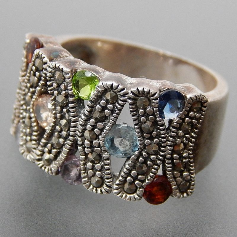 VINTAGE MULTICOLORED GEM STONES MARCASITE ACCENTS X-DESIGN WIDE STERLING SILVER RING - SIZE 6 #multicolored #silver-rings #vintage-silver-rings