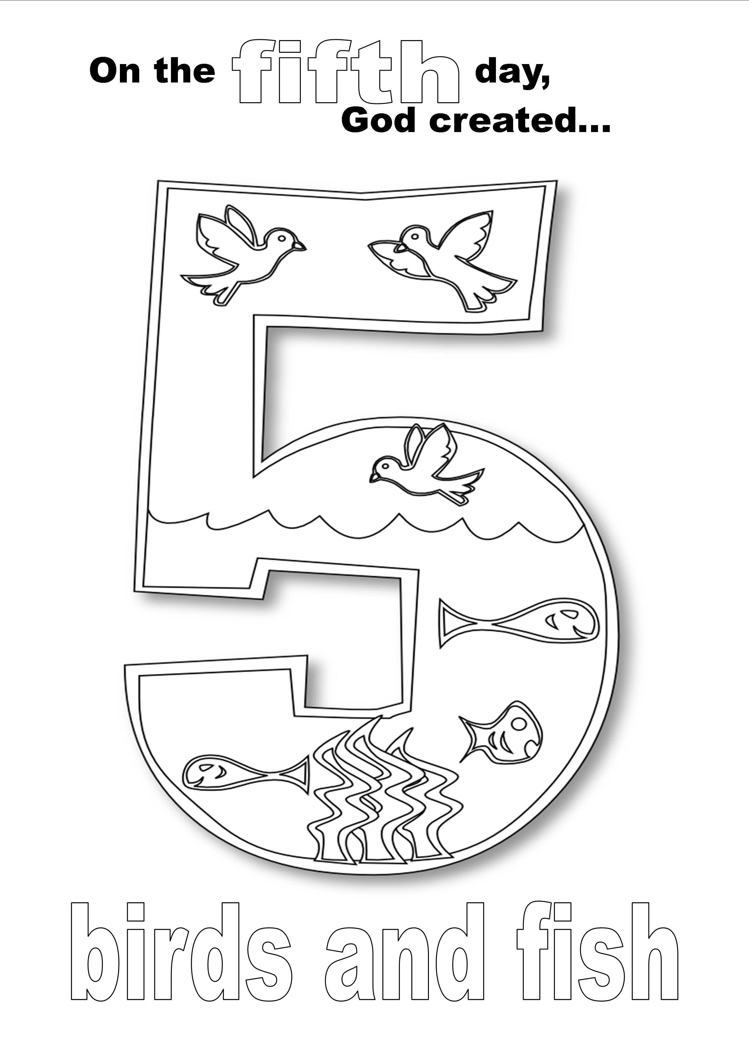 Creation Day Five Coloring Page Coloring Pages Teaching Color