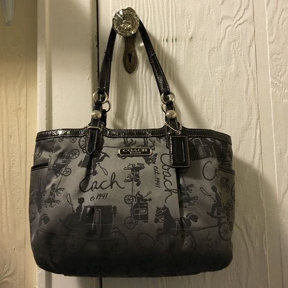 a555dcb4c3 Coach Horse and Carriage Print Bag Gorgeous grey canvas Coach bag with a  unique design. I bought this a few years ago