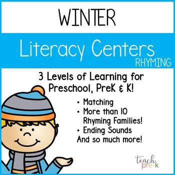Winter Literacy Centers: Rhyming for Preschool, PreK, K & Homeschool ...