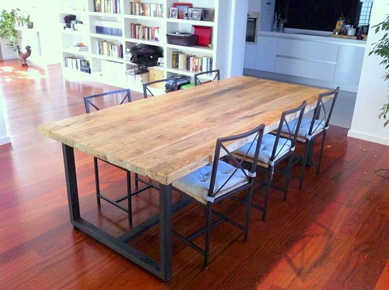 Mesa de comedor a medida con madera de viga recuperada for Mesa porche