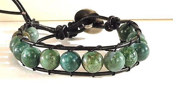 Mens Leather Cord Wrap Bracelet  Green Jasper by BeadingDerby, $28.00
