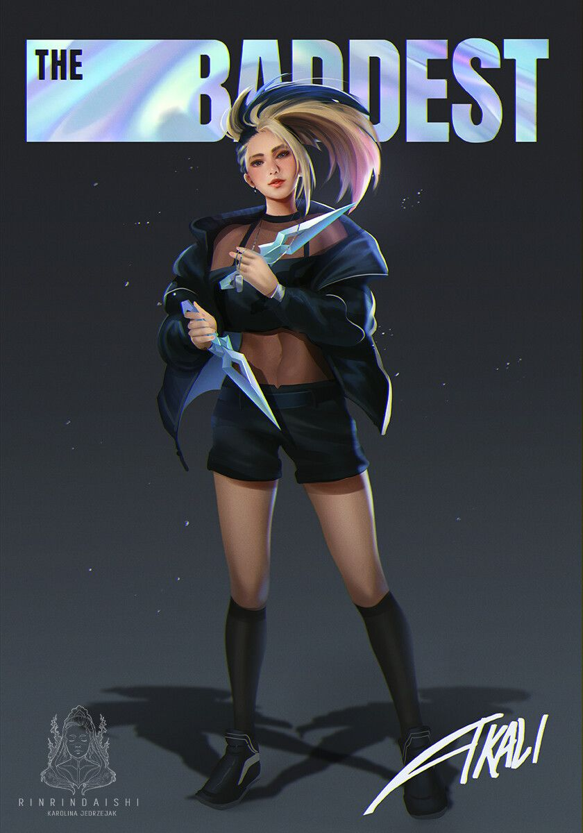 The Baddest Kda Akali Karolina Jedrzejak On Artstation At Https Www Artstation Com Artwork L3ze In 2020 Lol League Of Legends League Of Legends Characters Akali Lol
