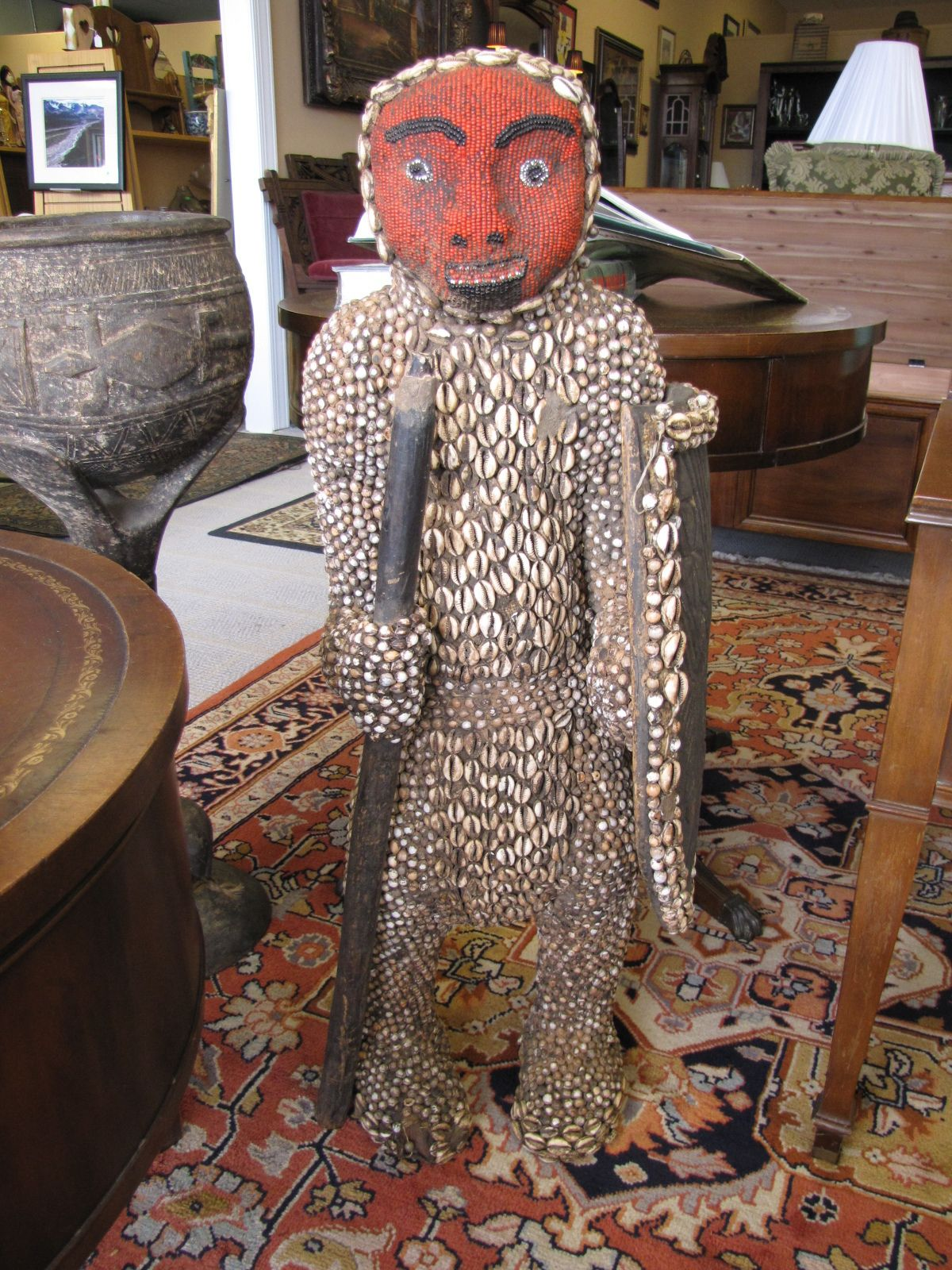 African Statue Made Out Of Seashells At The Raleigh Furniture Gallery