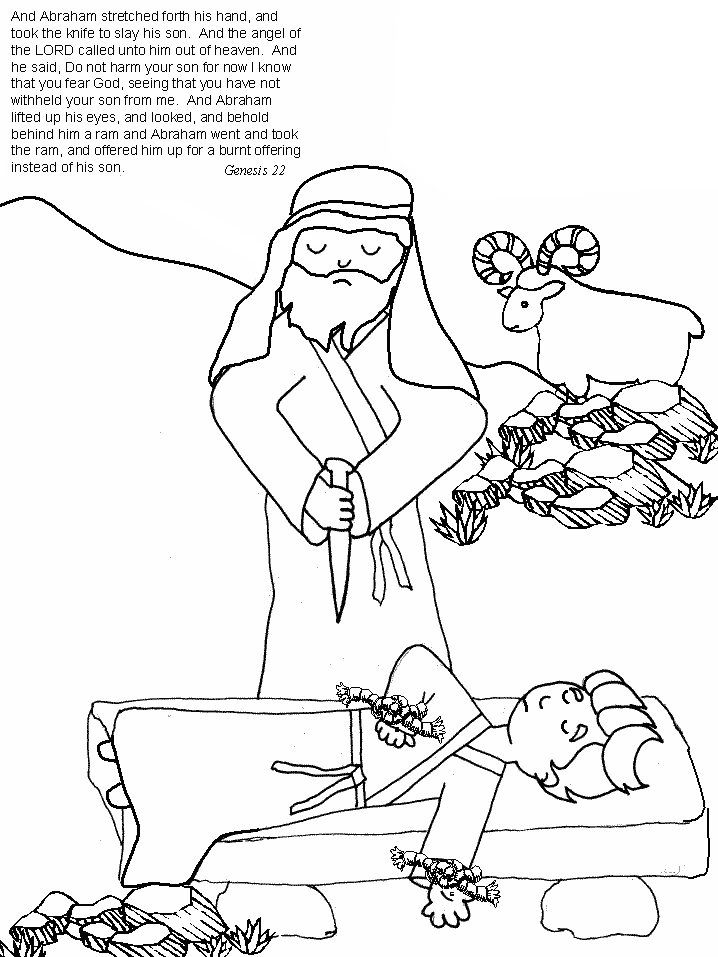 Abraham Sacrifices Isaac Coloring Page