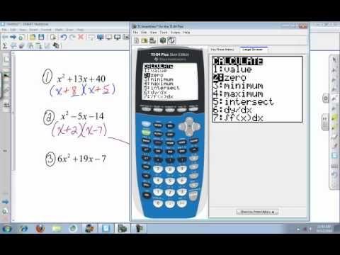 Calculator (college algebra): Factoring using the TI 84