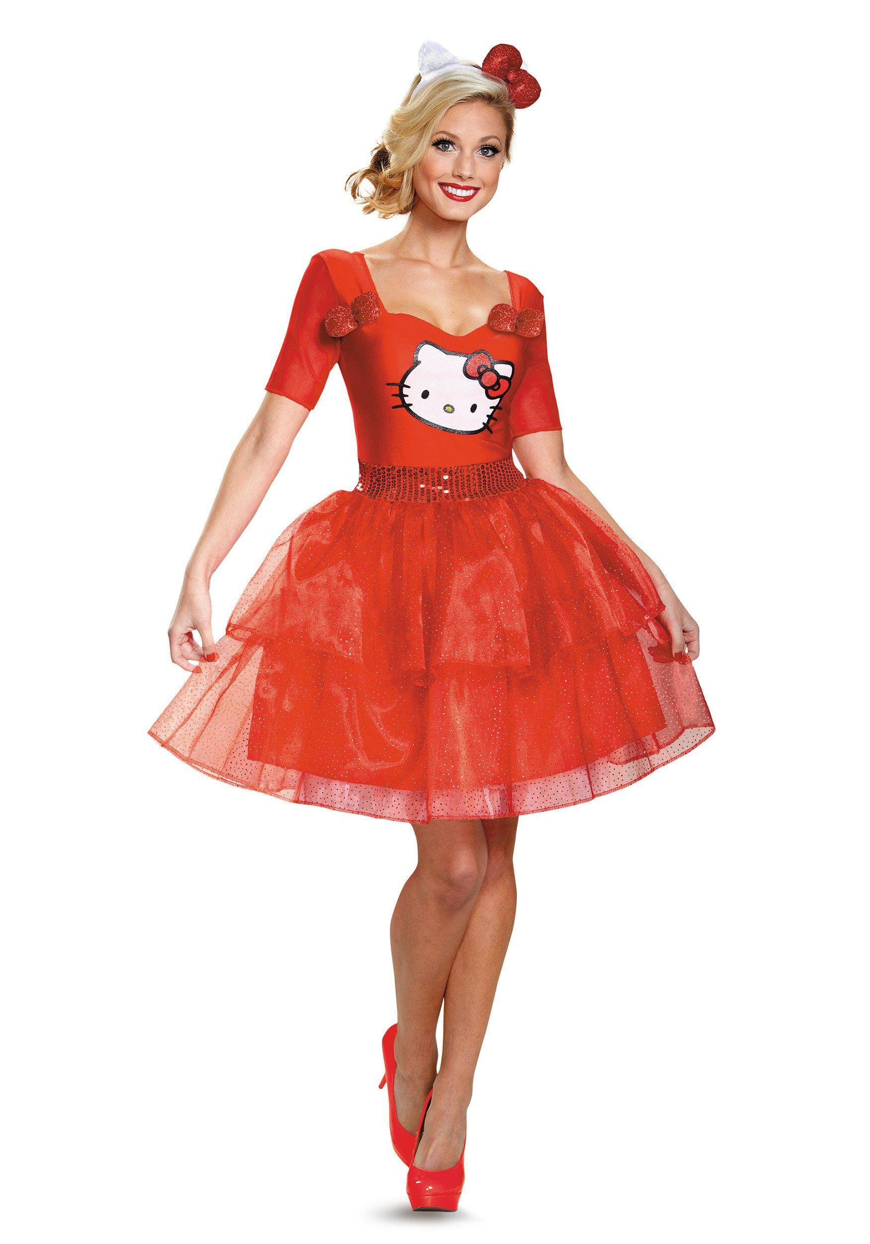 loving this hello kitty deluxe costume adult on - Halloween Hello Kitty Costume