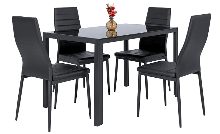 Black Dining Set Kitchen Modern Rectangular 6 Person Wooden Table Wood Chairs Black Dining Table Set Dining Table Black Dining Table