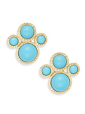 Kenneth Jay Lane Cabochon Cluster Earrings - Turquoise - Size No Size
