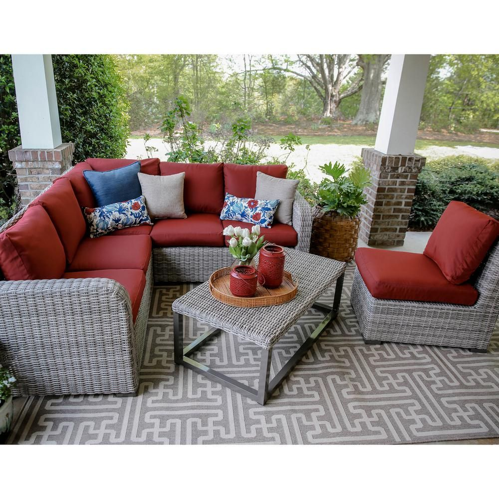 Leisure Made Forsyth 5 Piece Wicker Outdoor Sectional Set With Red