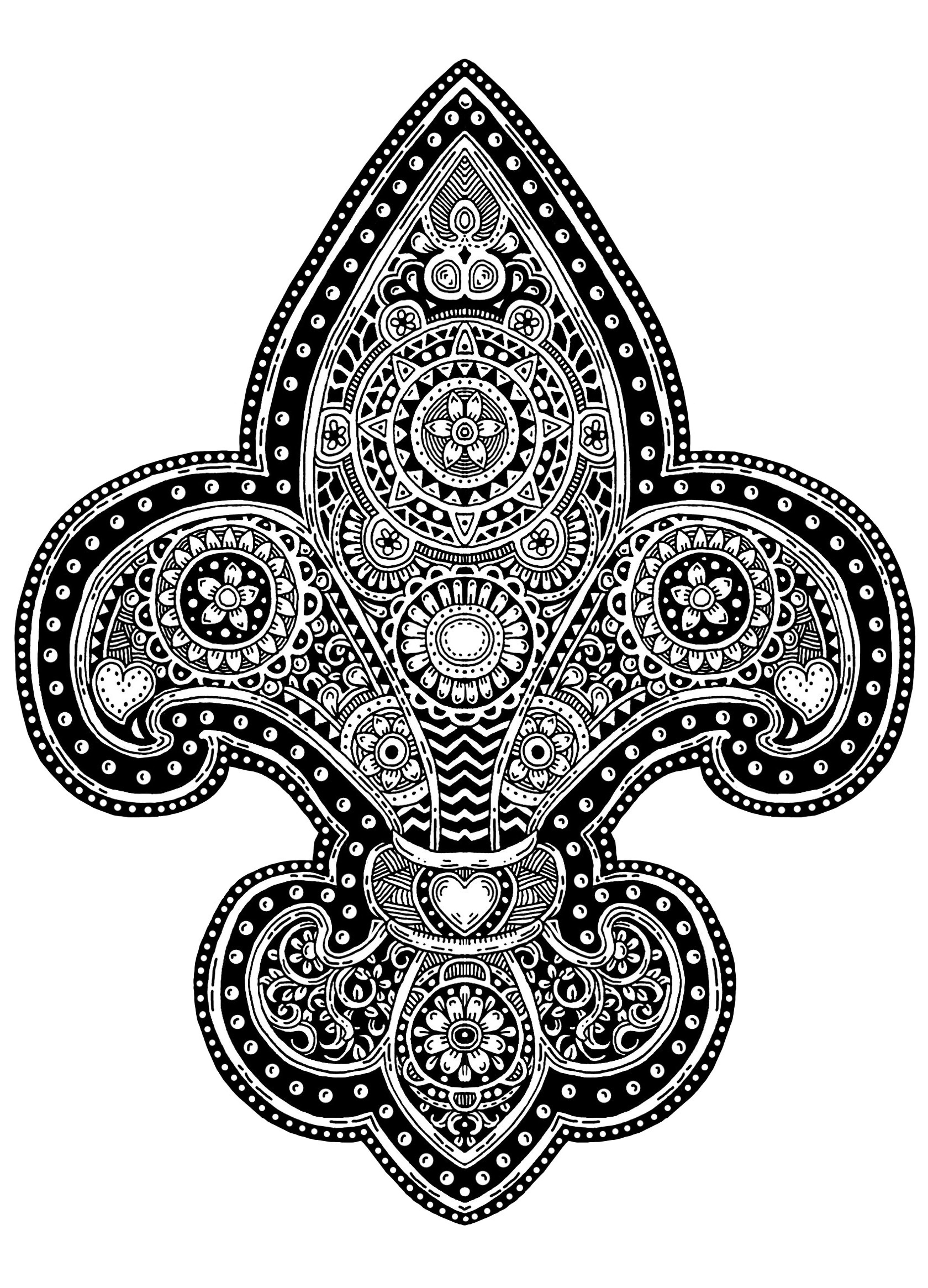 Fleur De Lis Ink Sketch White Art Coloring Pages