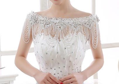 Handmade Luxurious Bridal Rhinestone Crystal Flowers and Clear Beads Bolero with flower lace trim - Wedding Dress Bolero with crystals,beads, lace This exquisite handmade shawl is made with a very light clear beads, rhinestone crystal flowers and lace trim to complete your look... This luxurious Shawl is a perfect statement piece to make your wedding dress unique and complete your look for the ceremony! It is a gorgeous vintage inspired hand made piece. Lace and crystals part is 75cm long…