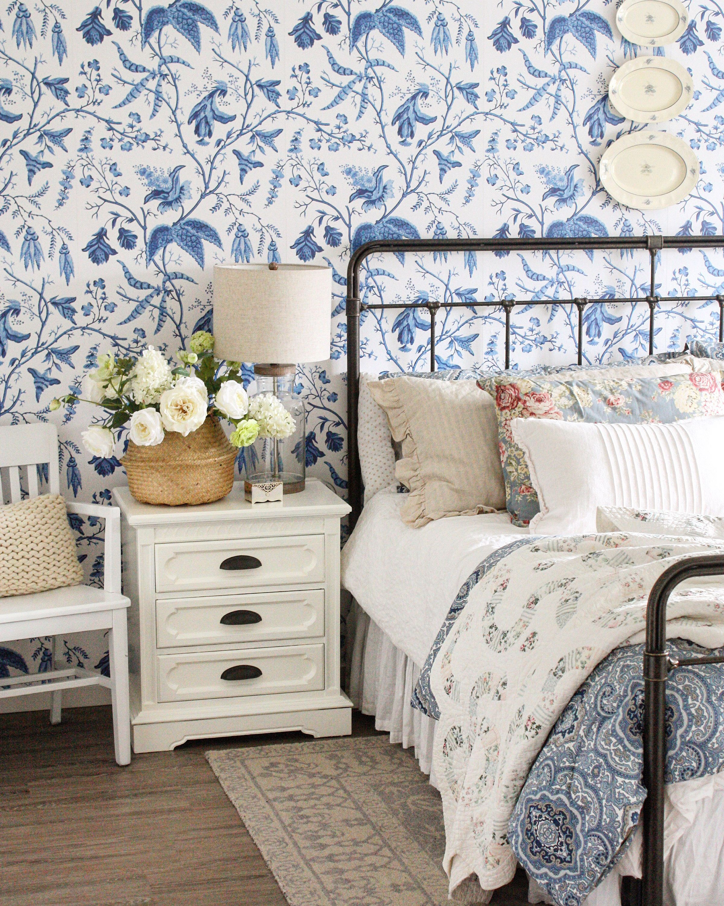 Chinoise Blue Peel 'n Stick or Traditional Wallpaper ...