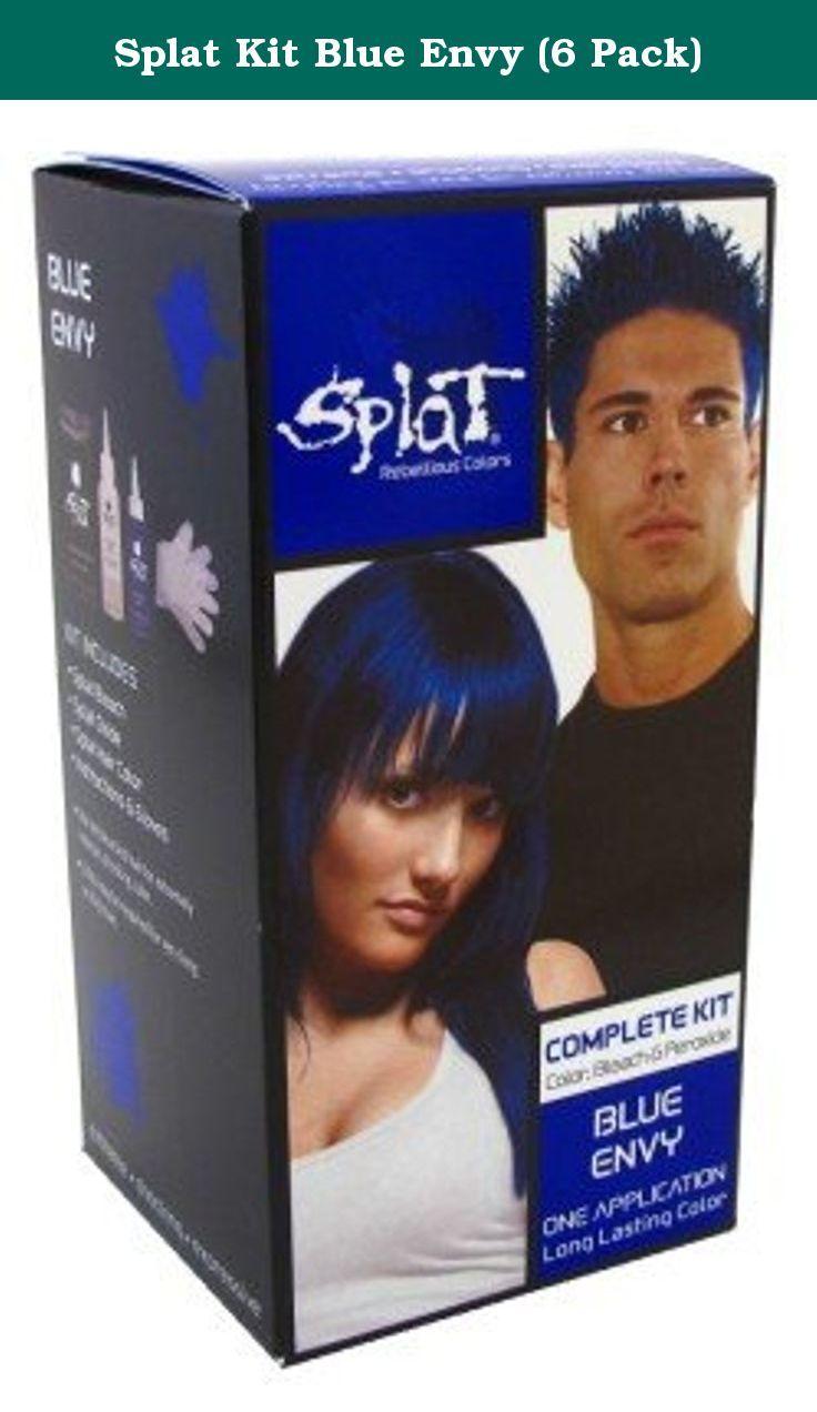 Splat Kit Blue Envy 6 Pack For Extremely Intense Shocking Color Color Bleach Peroxide Long Lasting Color Hair Color Color Kit Color