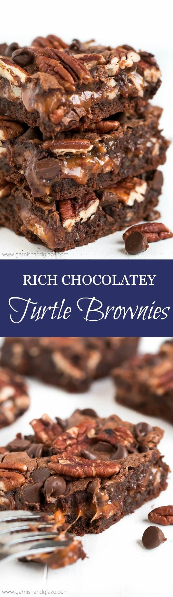 Rich Chocolatey Turtle Brownies - Garnish & Glaze