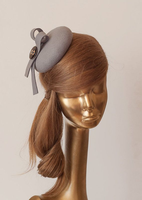 cf4b5bab6f52a Unique MODERN Grey Color Felt FASCINATOR Fascinator for Women by  ancoraboutique