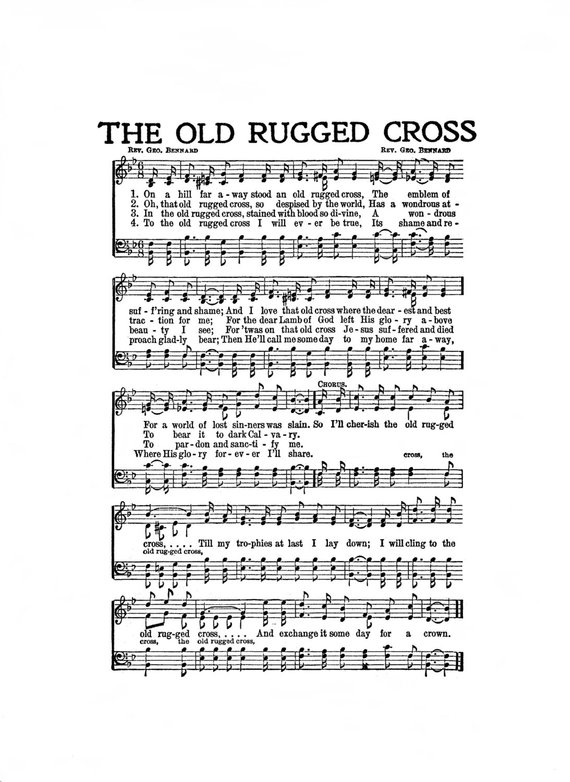 The Old Rugged Cross Hymn Digital Sheet Music Easter