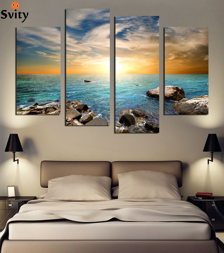 living room art prints%0A   panels sea stone Print On Canvas Canvas Paintings Wall Art Modern  Picture Home Decoration For Living Room Unframed