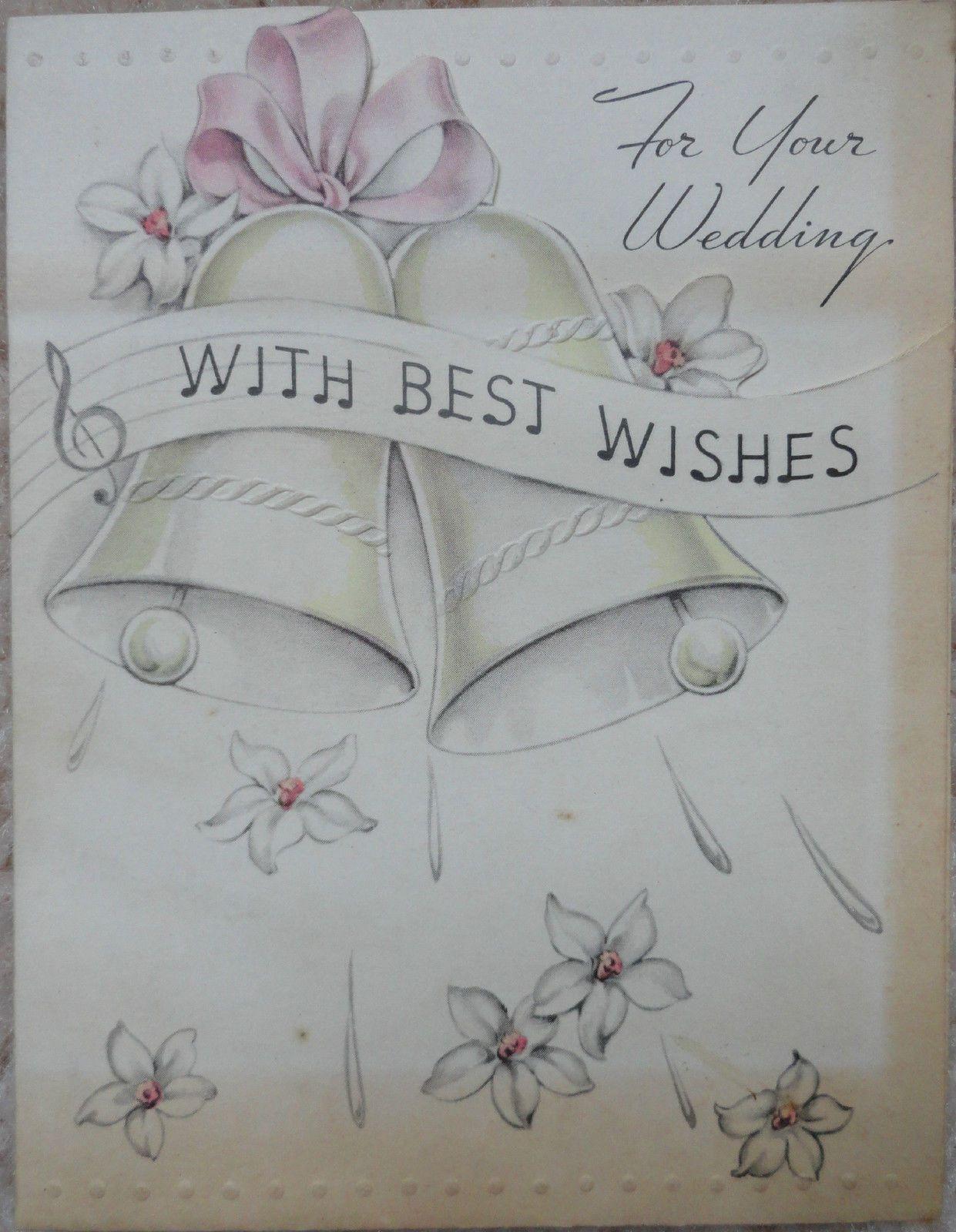 wedding anniversary greeting cardhusband%0A Vintage Wedding Card for Your Wedding Bells Flowers Rust Craft Card   eBay