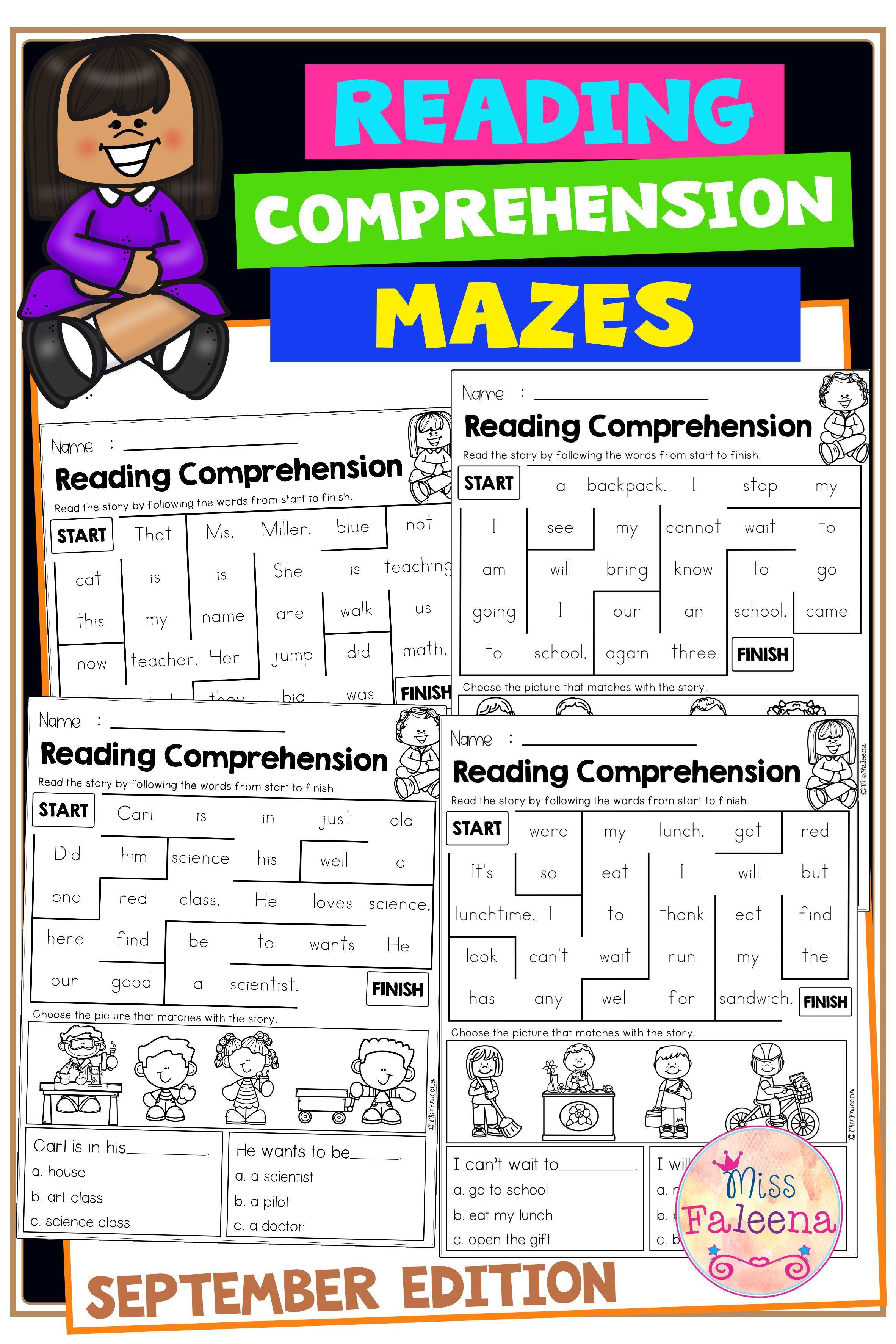 September Reading Comprehension Mazes