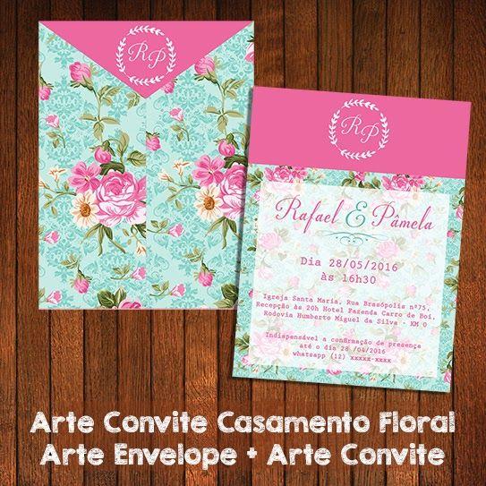 Arte Convite Casamento Floral Azul E Rosa Kit Festa