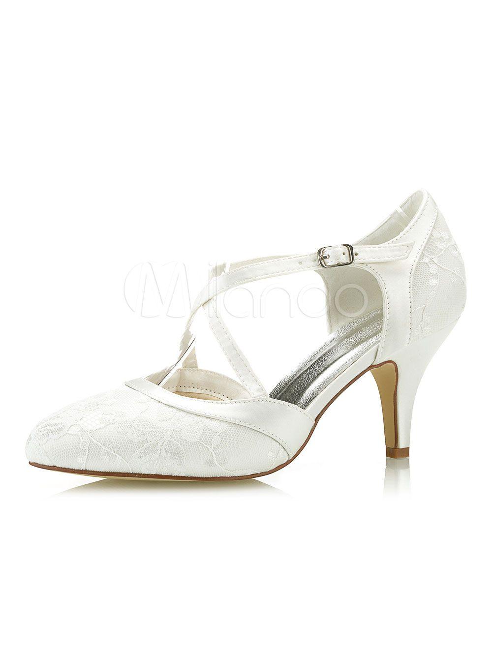 dc84c6b6b13 Ivory Wedding Shoes Lace Pointed Toe Criss Cross Vintage Bridal ...