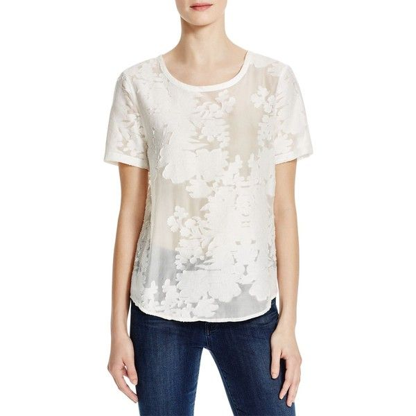 68dbff25 Equipment Riley Floral Burnout Tee ($210) ❤ liked on Polyvore featuring tops,  t-shirts, bright white, floral tee, burnout t shirt, burnout tee, ...