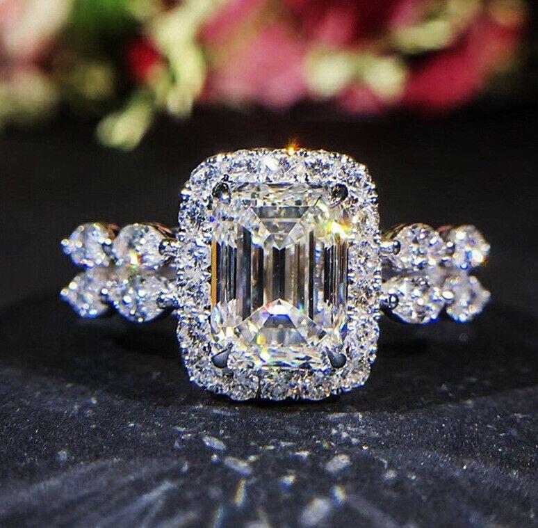 Luxury Princess Cut White Topaz CZ Promise Ring 925 Silver Women Wedding Jewelry