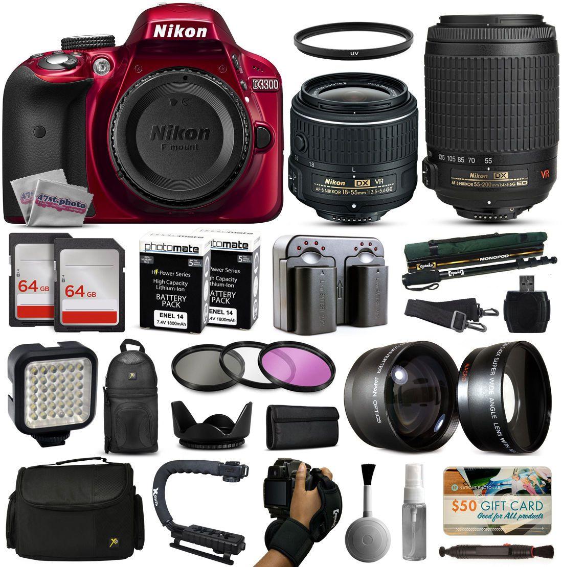 Nikon D3300 Red Dslr Camera 18 55mm Vr Ii 55 200mm 128gb Premium Kit