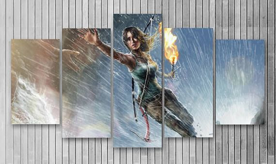 Tomb Raider Gaming 5 Piece Canvas, 5 Panel Canvas, Lara Croft, Wall