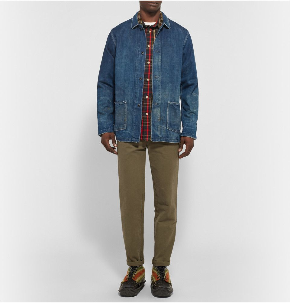 Yuketen - Hunt Striped Flannel and Leather Boots|MR PORTER