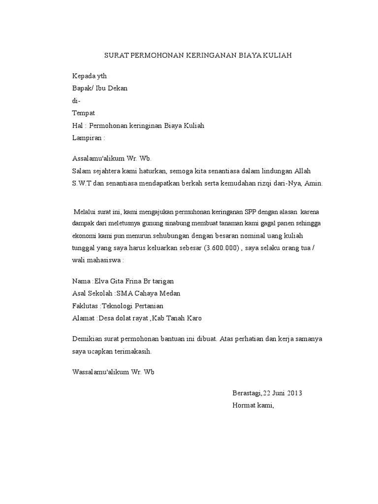 Hasil Gambar Untuk Surat Pengajuan Keringanan Biaya Kuliah Surat Gambar