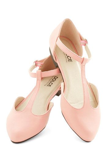 Favorite Treats Flat in Pink - Flat, Faux Leather, Pink, Solid, Daytime Party, Pastel, T-Strap, Variation