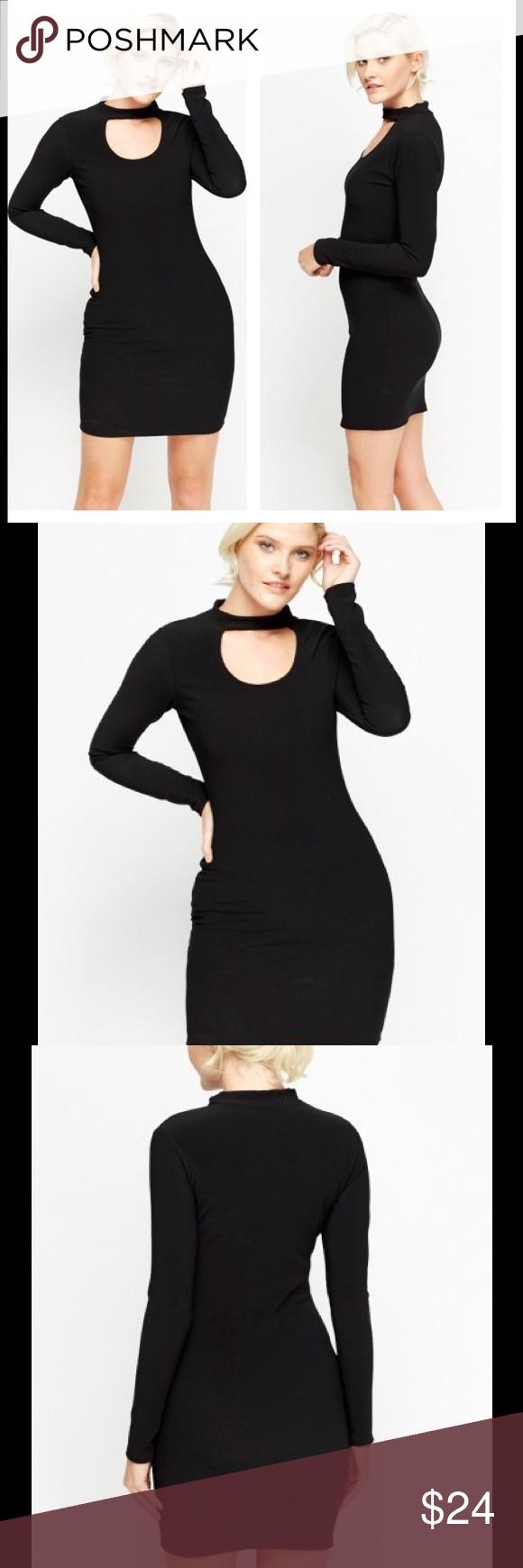 Nwt black bodycon dress sz cut out black bodycon dress