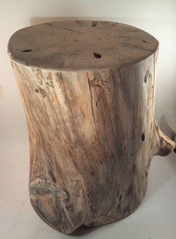 Rustic Yellow Pine Stump Stool Table plant by TarheelCustomWood