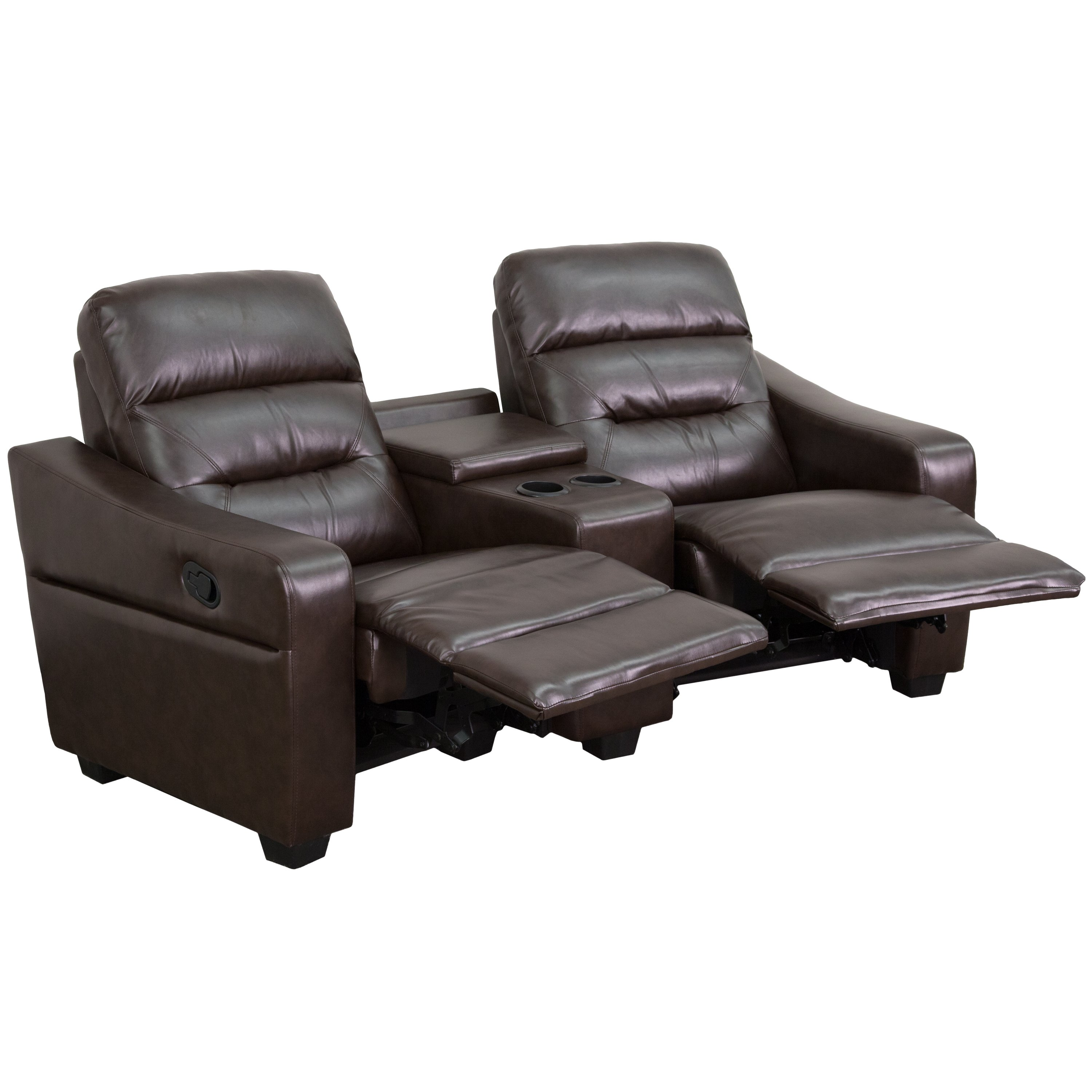 B home series seat reclining brown leather theater seating unit