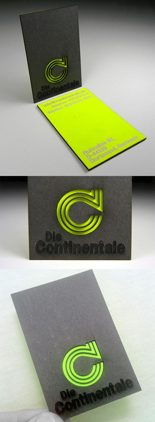 Bold Black And Neon Layered Laser Cut Business Card Design