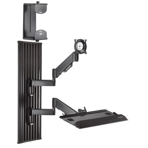 Wall Mount This Workstation Includes A Monitor Mount Keyboard Tray And Cpu Mount Wall Mounted Tv Wall Mount Swivel Tv Wall Mount