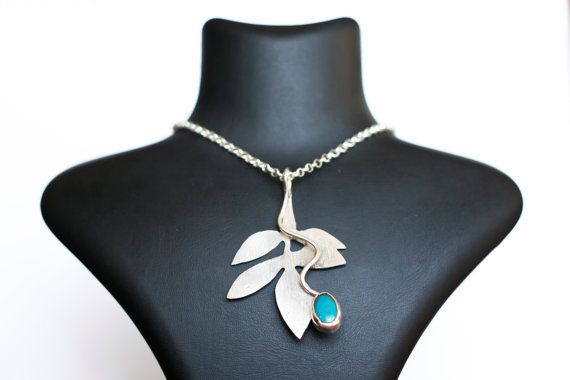 Sterling Silver and Turquoise Leaves Pendant by ANGELTOUCHistanbul