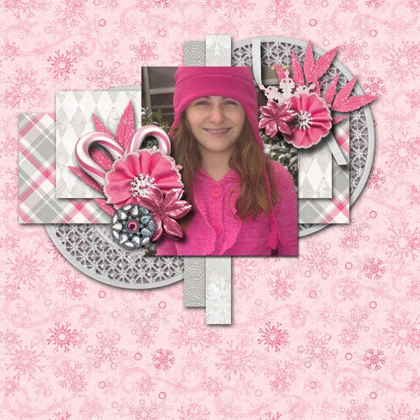 A picture of my daughter.  Kit used: Peppermint Snow by Sherry Ferguson available at http://scraporchard.com/market/Peppermint-Snow-Digital-Scrapbook-Mini-Kit.html  Template by Luv Ewe Designs.
