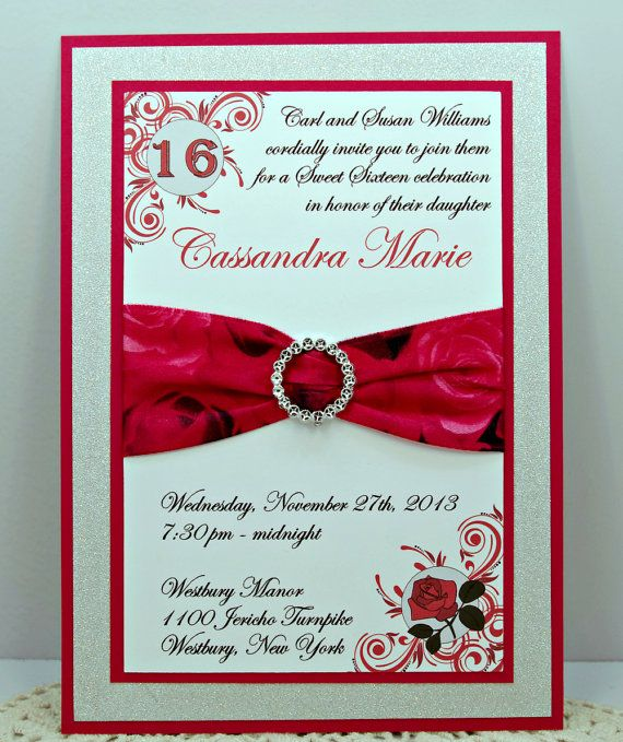 Red Rose and Black Quinceanera or Sweet 16 by InviteBling on Etsy