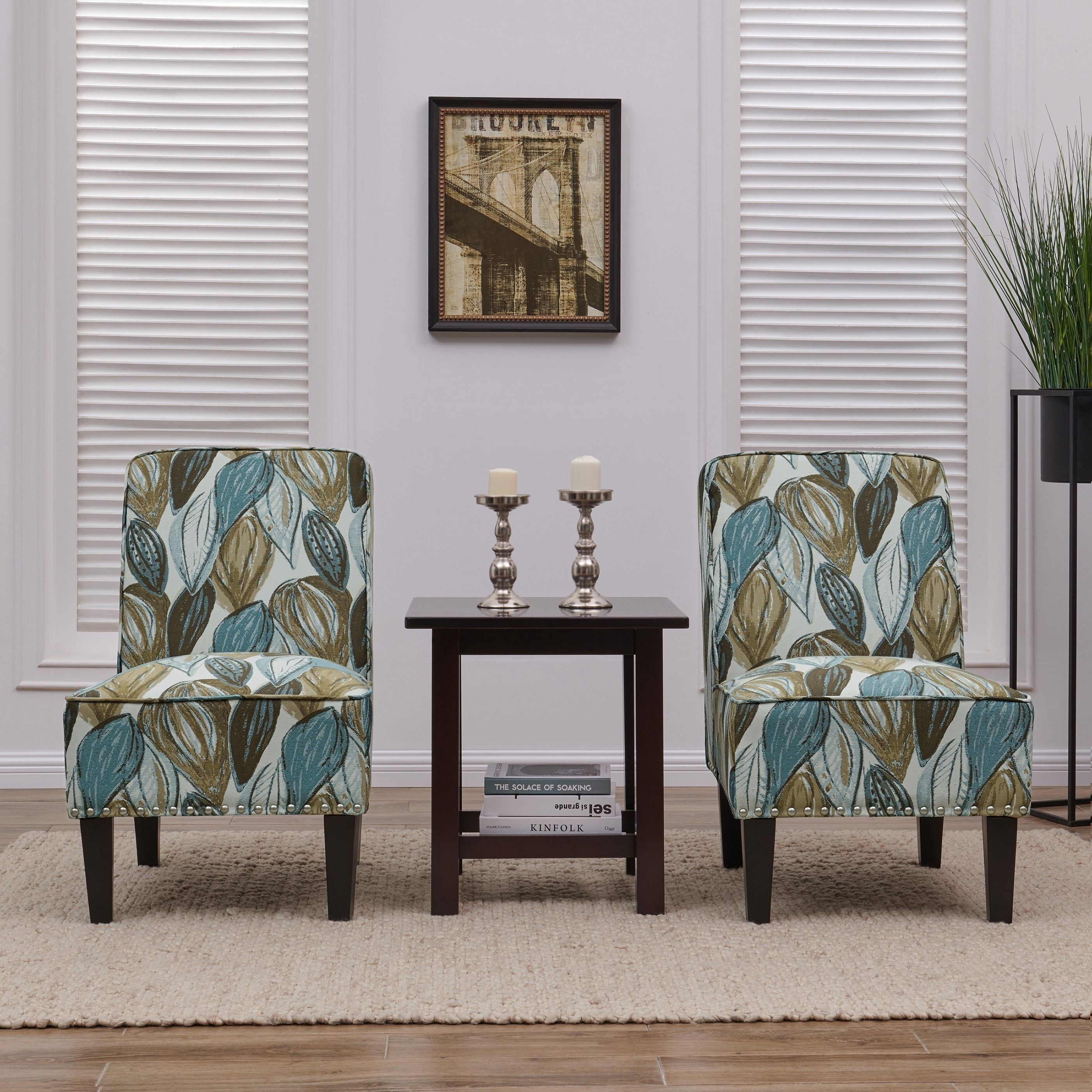 Best Handy Living Brodee Blue Leaf Armless Accent Chairs Set 400 x 300