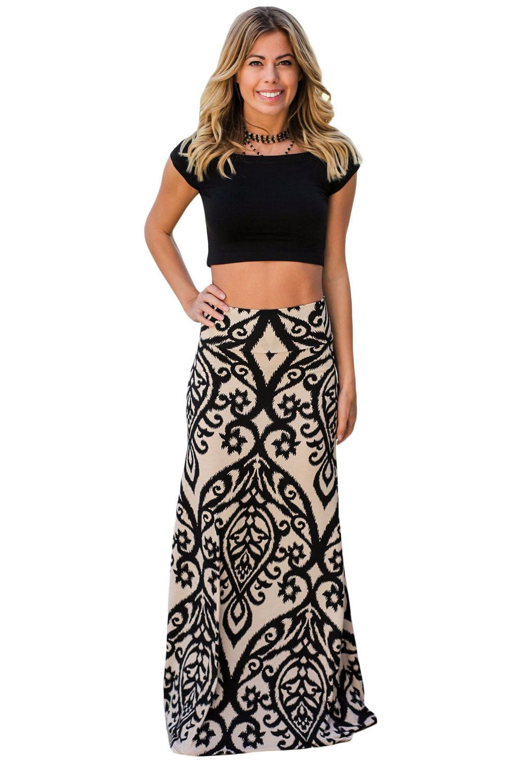 Women black tendril printed maxi skirt long summer beach plus boho