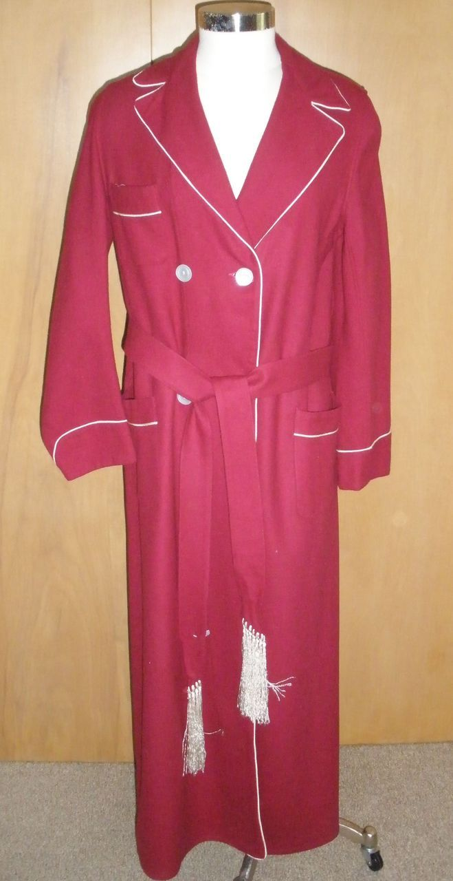 Vintage Mens Rabhor Burgundy Wool Robe Dressing Gown M 75 Mens