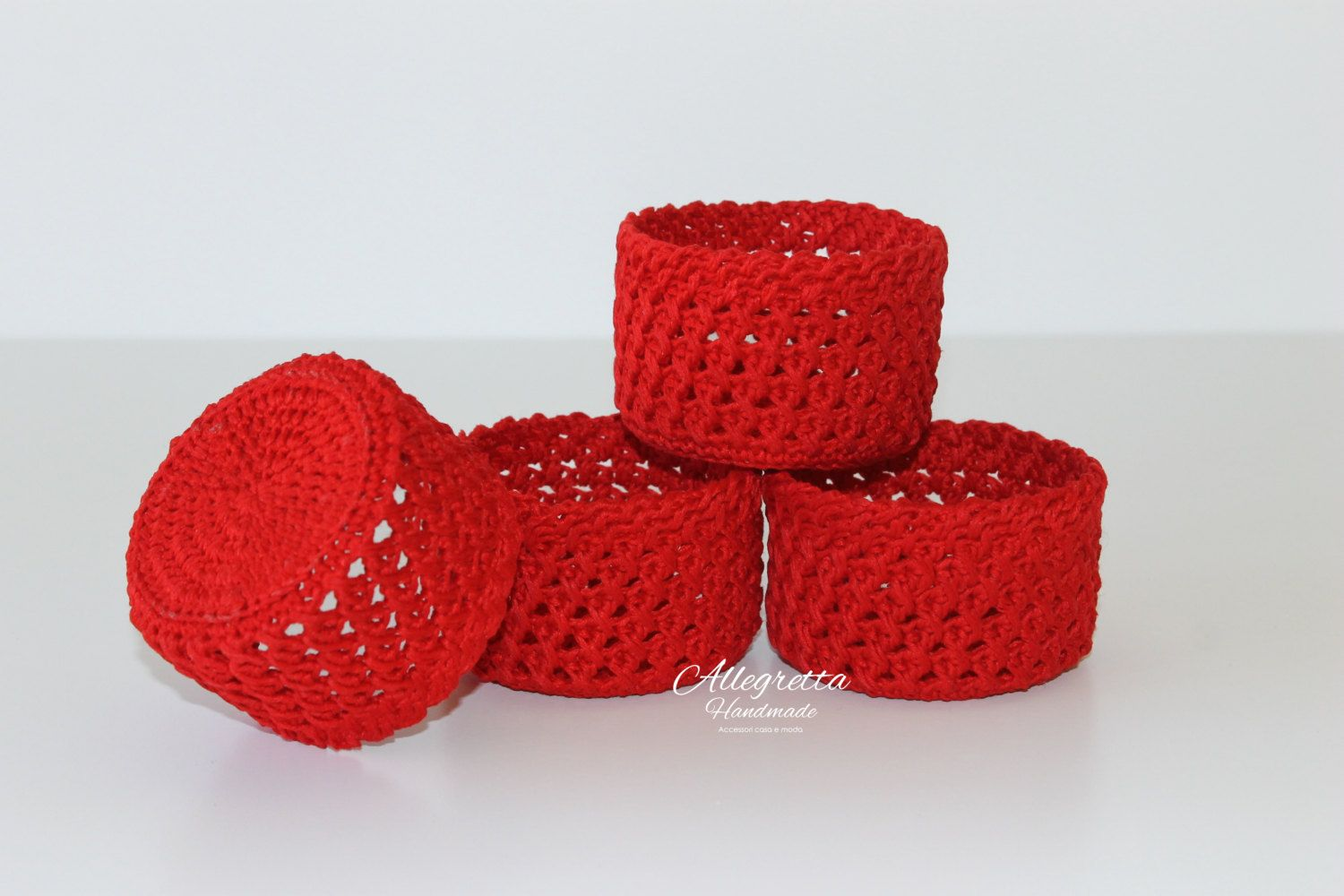 Four red crochet baskets home decor boho chic country chic gift