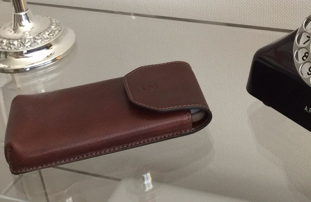 be3ee2a9bdd Maxwell Scott s Gabbro Tan leather glasses case ideal for my iPhone 6 plus